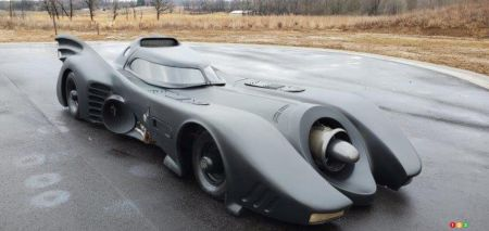 The replica of Tim Burton's Batmobile, three-quarters front