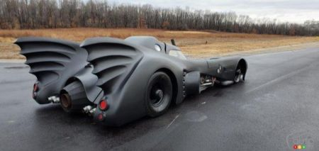 The replica of Tim Burton' Batmobile, three-quarters rear