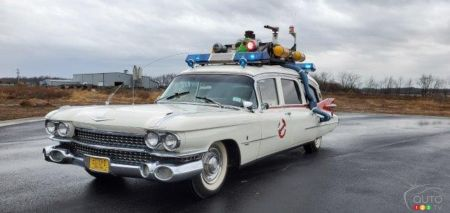 The replica of the Ghostbusters hearse, a 1959 Cadillac, three-quarters front