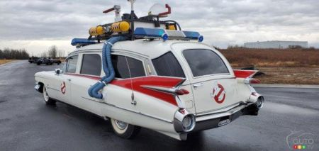 The replica of the Ghostbusters hearse, a 1959 Cadillac, three-quarters rear