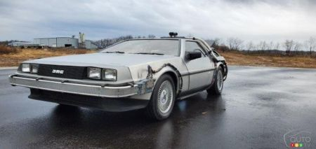 The replica of Doc's DeLorean, three-quarters front