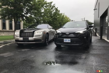 Fortuitous encounter between a C-HR Limited ($31,000) and a 2018 Rolls-Royce Dawn ($420,000): both have style.