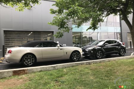 2018 Rolls-Royce Dawn and 2020 Toyota C-HR 2020, nose to nose