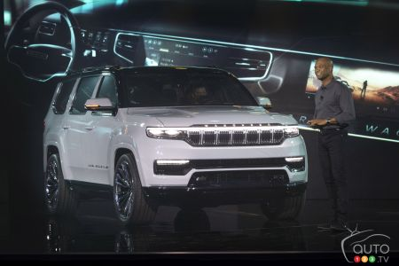 The Jeep Grand Wagoneer concept, during its presentation