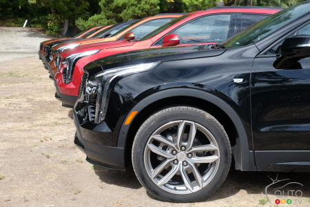 A row of Cadillac XT4s