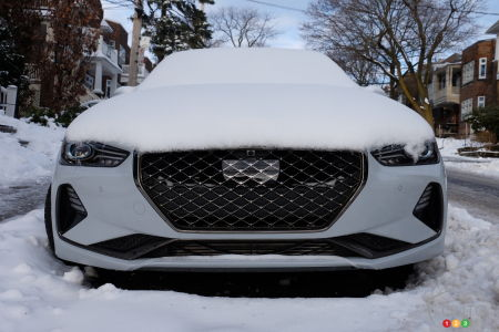 The 2021 Genesis G70, under the snow