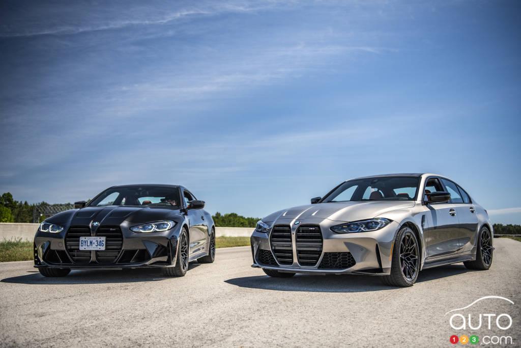 La BMW M4 Competition 2021 et la BMW M3 2021, avant