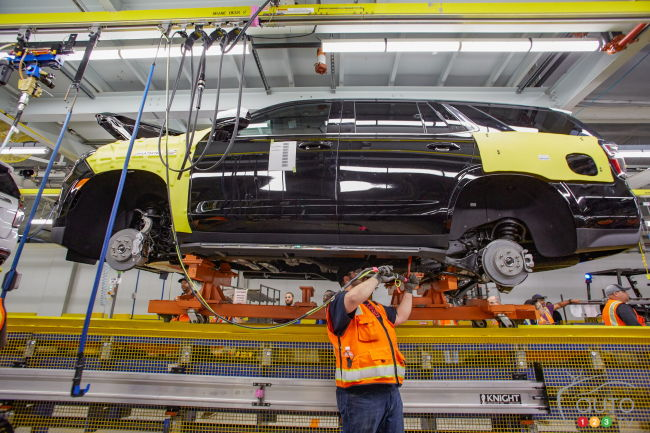 A Chevrolet Tahoe on the production line in GM's Arlington, Virginia plant