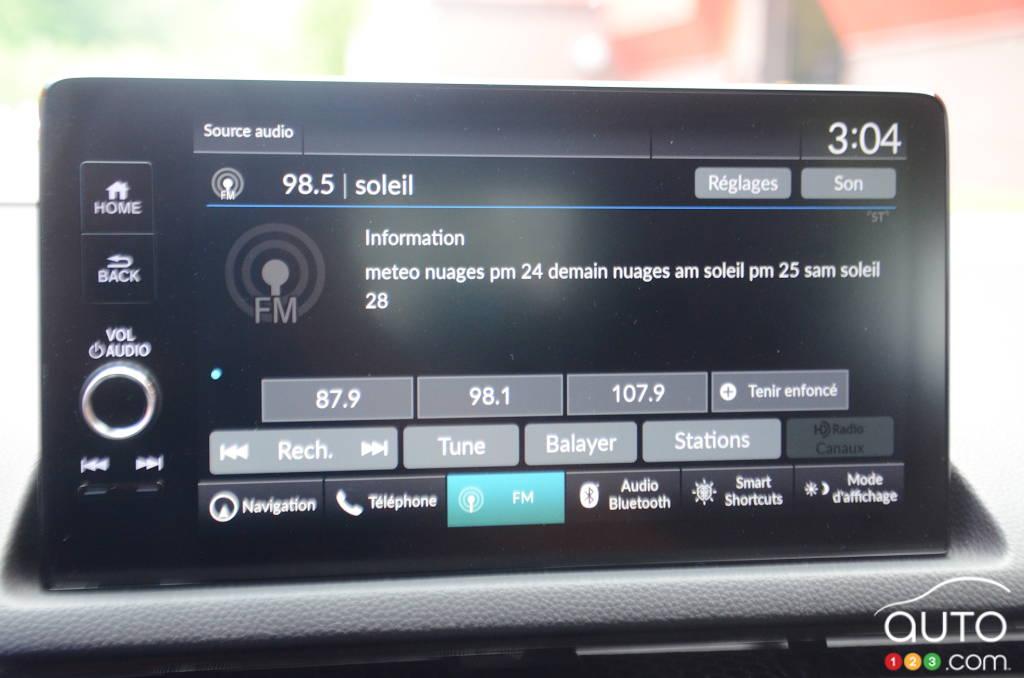 Honda Civic Touring 2022, écran multimédia