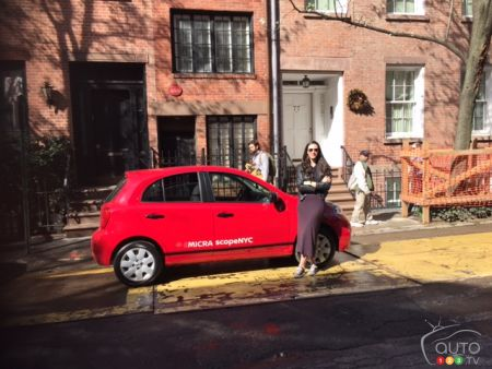Here's the Micra in front of 75.5 Bedford Street, the narrowest house in all of Manhattan, formerly owned by actor Cary Grant and now valued at $3.25 million USD.