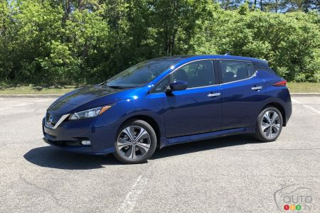 2020 Nissan LEAF Plus, three-quarters front