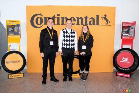 From left to right :   Okan Sen, National marketing Manager, Continental Tire Canada, Inc., Matt Livigni, General Manager at Continental Tire Canada, Inc. , Nicole Ruggiero, Communications, Assistant PLT Replacement Canada Continental Tire Canada, Inc.