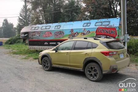 2021 Subaru Crosstrek, three-quarters rear
