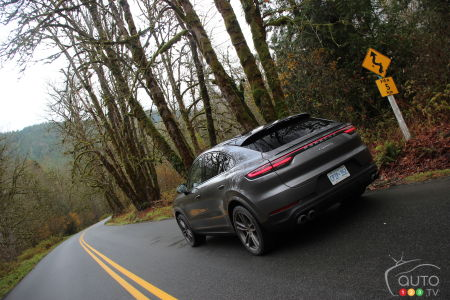 The 2020 Porsche Cayenne S Coupe S, on the road