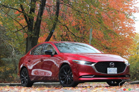 2021 Mazda3 Turbo, three-quarters front