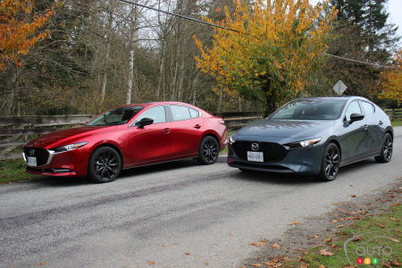 The 2021 Mazda3 Turbo, in red and in grey