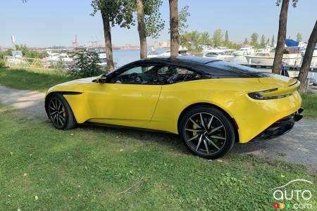 2020 Aston Martin DB11, three-quarters rear