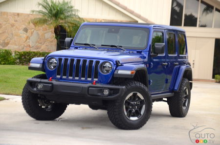 The 2020 Jeep Wrangler Diesel , three-quarters front