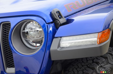 The 2020 Jeep Wrangler Diesel, front headlight