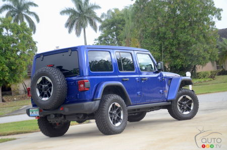 The 2020 Jeep Wrangler Diesel , three-quarters rear