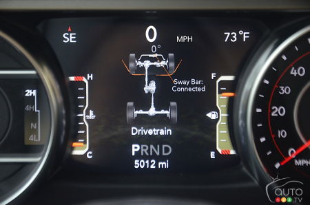 The 2020 Jeep Wrangler Diesel, digital screen
