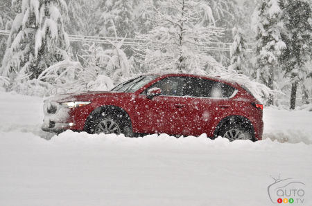 A Mazda in the snow