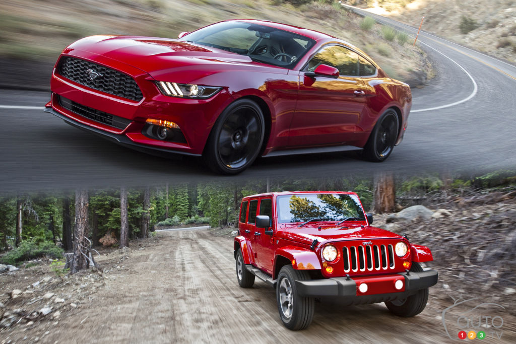 2016 ford mustang convertible vs jeep wrangler unlimited car news auto123. Black Bedroom Furniture Sets. Home Design Ideas