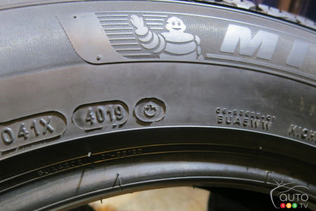 The Michelin X-Ice Snow is made in Nova Scotia, as indicated by the small maple leaf printed on its side.