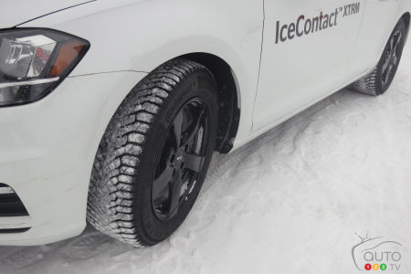 The new Continental IceContact XTRM studded on a test Volkswagen.