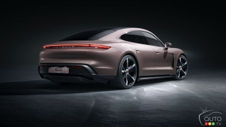 2021 Porsche Taycan with RWD, three-quarters rear