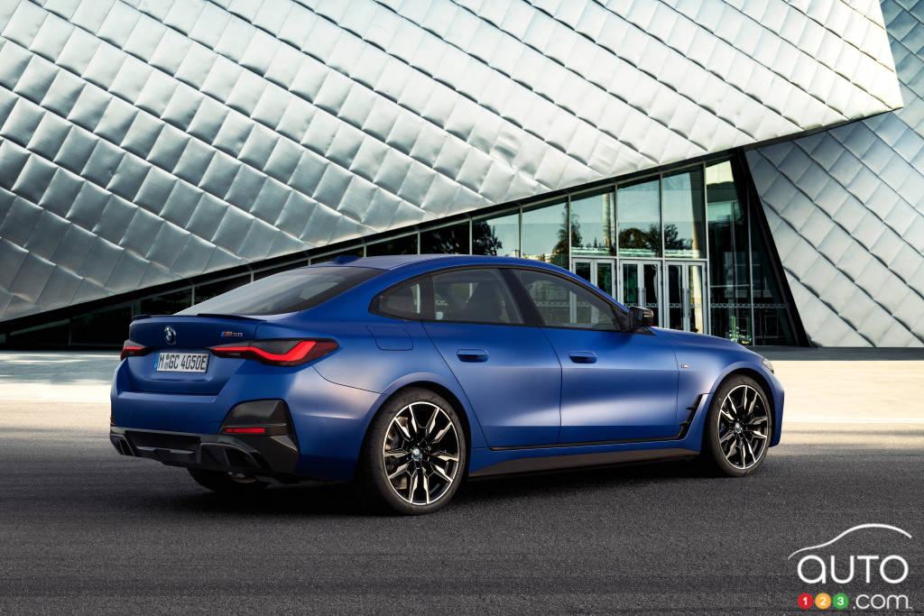 BMW i4, trois quarts arrière