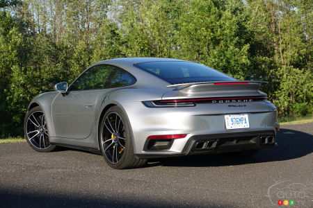 2021 Porsche 911 Turbo S, three-quarters rear