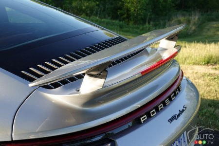 2021 Porsche 911 Turbo S, rear spoiler raised