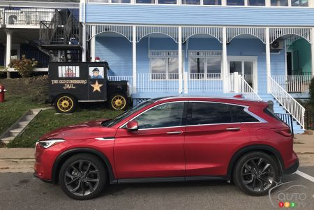 The 2020 Infiniti QX50, in front of the old Lunenberg jail