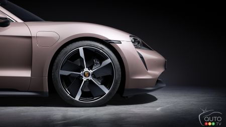 2021 Porsche Taycan with RWD, front wheel