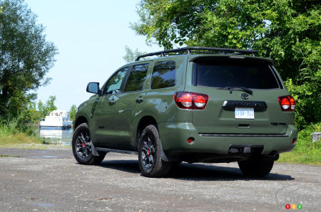 2020 Toyota Sequoia TRD Pro, three-quarters rear