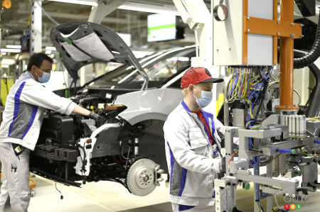 Workers at Volkswagen factory in Europe