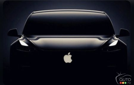 Apple logo Apple on car silhouette