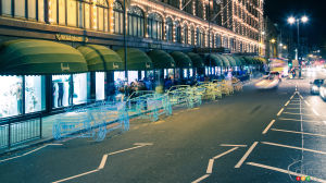 Range Rover Evoque Convertible wireframe sculptures shown in London