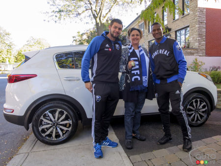 She Receives a 2017 Kia Sportage Delivered by Montreal Impact Players