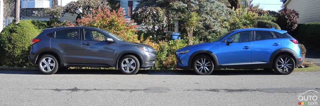 honda hr v vs mazda cx 3 comparison car news auto123. Black Bedroom Furniture Sets. Home Design Ideas