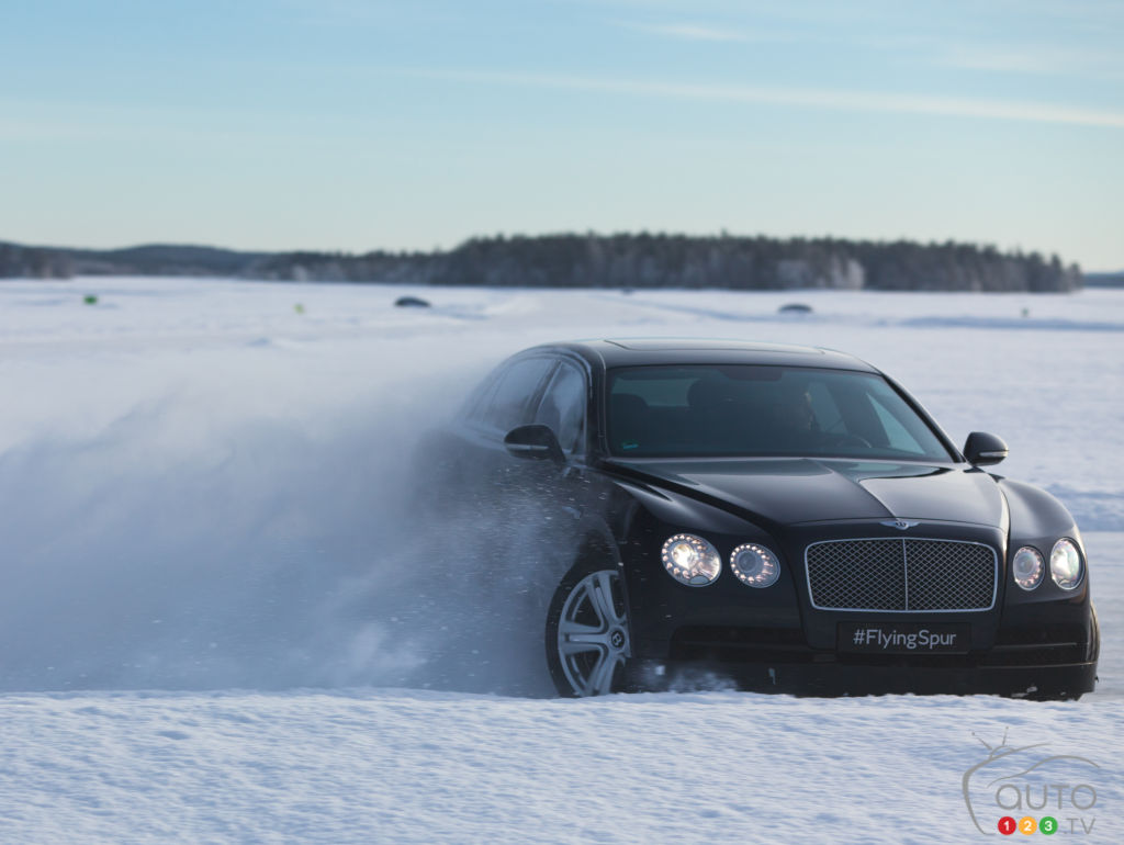 Bentley Flying Spur in the snow