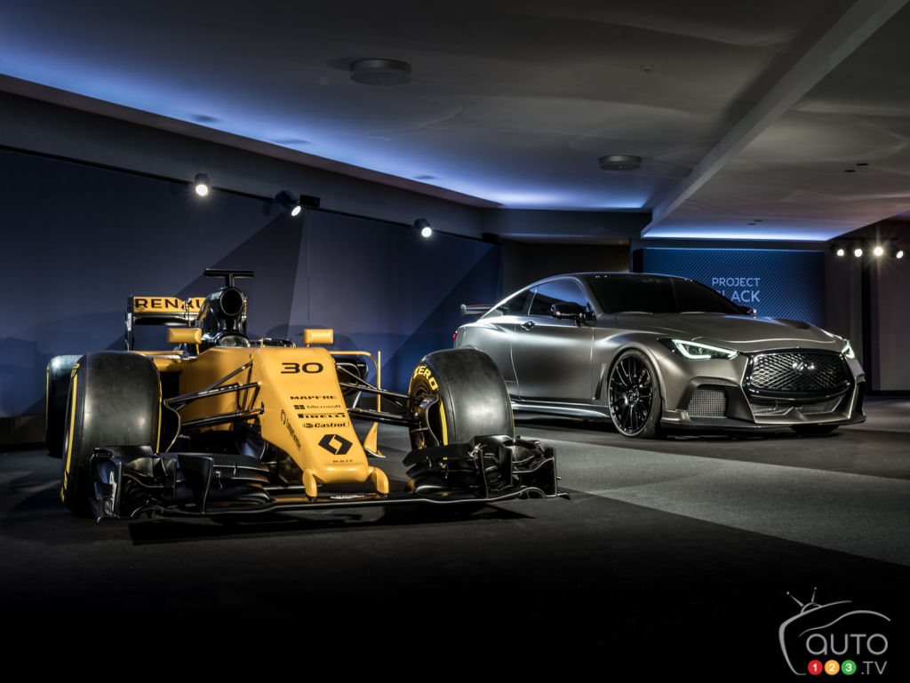 INFINITI Project Black S concept next to a Renault F1 car