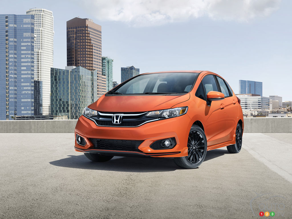 The refreshed 2018 Honda Fit Sport in Orange Fury