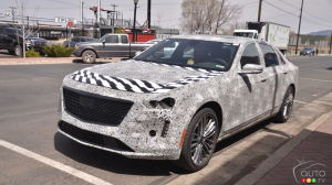 Images of the camouflaged 2019 Cadillac CT6 V-Sport on Route 66
