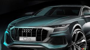 Audi teaser image shows front end of new Q8