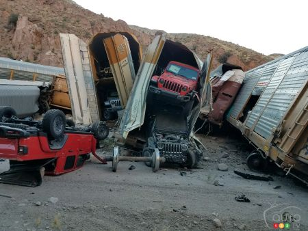 Nevada Train Derailment Destroys New Jeep Gladiators, Chevy Silverados, GMC Sierras