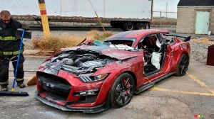 Firefighters in Training Trash a 2020 Shelby GT500