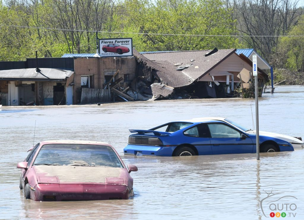 A Collection of Pontiac Fieros Destroyed by Flooding in Michigan