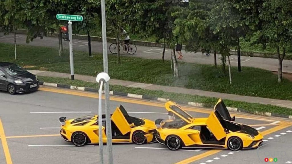 A Yellow Lamborghini Aventador Slams Into… Another Yellow Aventador